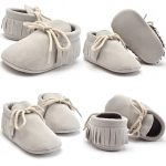 Baby moccasins lichtgrijs The little market